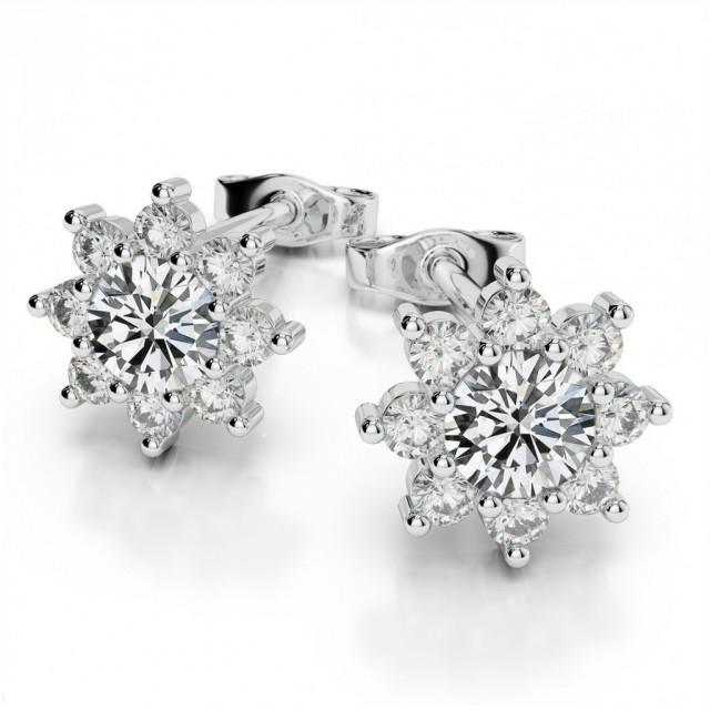 wedding photo - 4mm Forever Brilliant Moissanite & Diamond Flower Halo Stud Earrigns