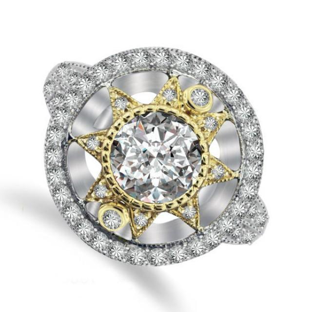 wedding photo - Moissanite Engagement Rings Etsy - Art Deco 6.5mm Forever One Moissanite & Diamond Ring