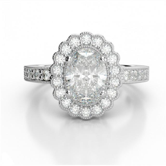 wedding photo - Moissanite Vs Diamond Rings - Vintage Oval Forever One Moissanite & Diamond Ring - Moissanite Forever One Rings