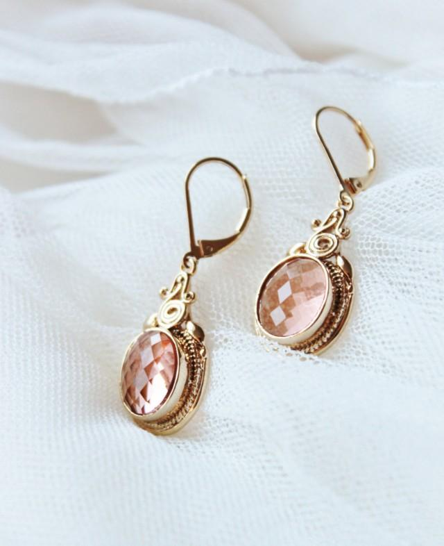 Peach earrings champagne peach wedding bridesmaid gift for Jewelry for champagne wedding dress