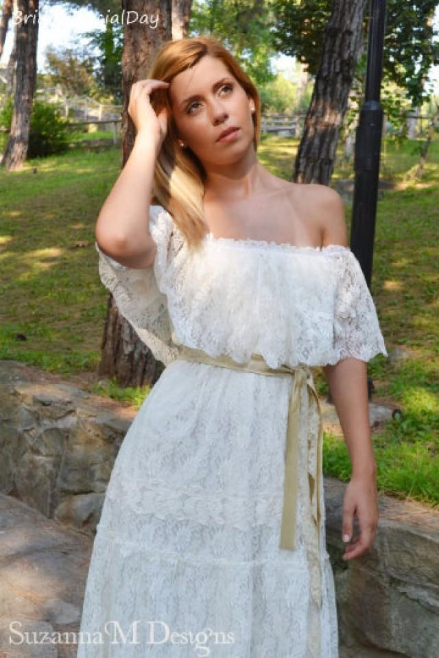 Ivory lace wedding dress bohemian wedding dress rustic for Off the shoulder bohemian wedding dress