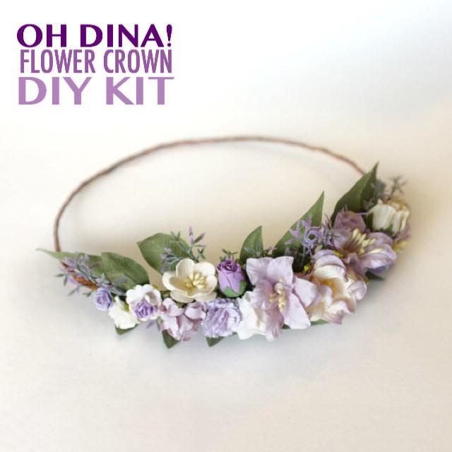 Lavender Flower Crown DIY Kit Lavender Wedding Headband Lavender Bridal DIY Lavender Floral