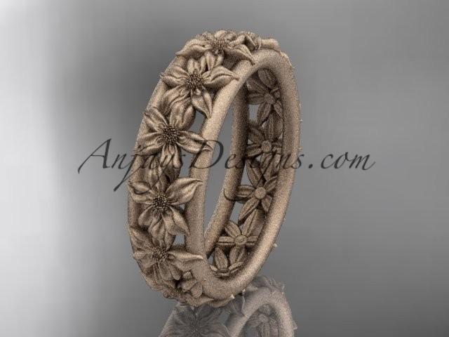 wedding photo - 14kt rose gold flower wedding ring, engagement ring, wedding band ADLR163G