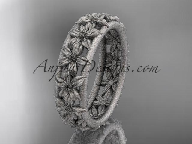 wedding photo - 14kt white gold flower wedding ring, engagement ring, wedding band ADLR163G