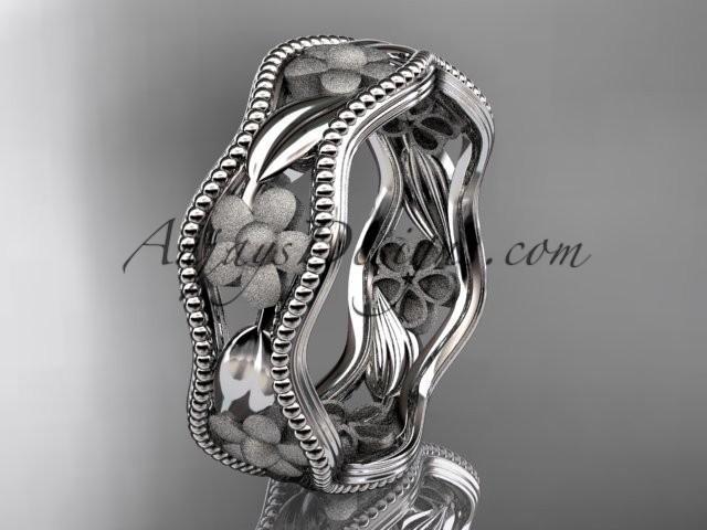 wedding photo - platinum flower wedding ring,engagement ring, wedding band. ADLR190G
