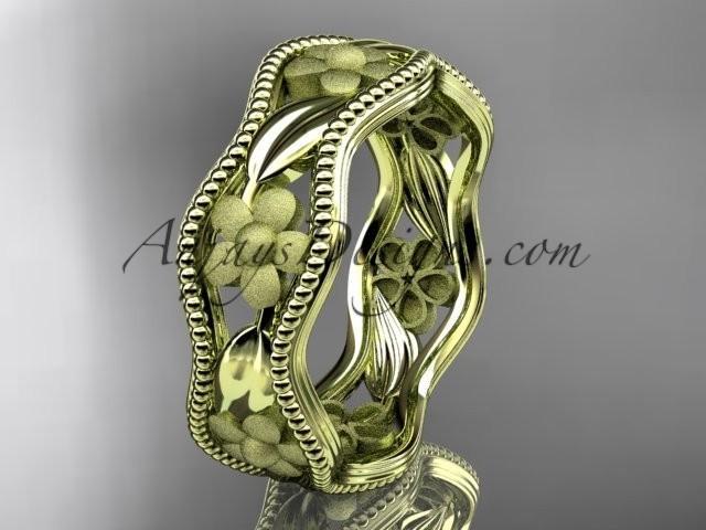 wedding photo - 14k yellow gold flower wedding ring,engagement ring, wedding band. ADLR190G