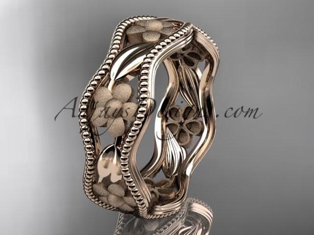 wedding photo - 14k rose gold flower wedding ring,engagement ring, wedding band. ADLR190G