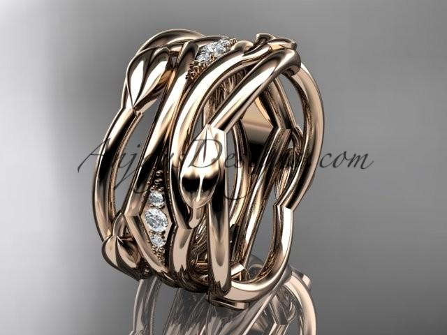 wedding photo - 14kt rose gold leaf and vine wedding ring, wedding band ADLR351B