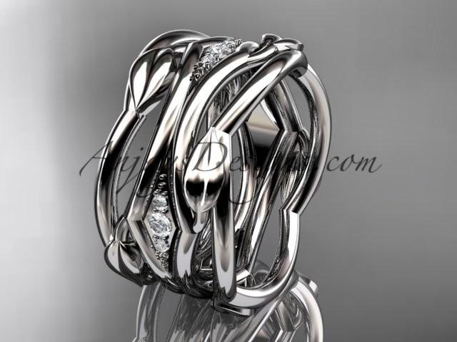 wedding photo - 14kt white gold leaf and vine wedding ring, wedding band ADLR351B