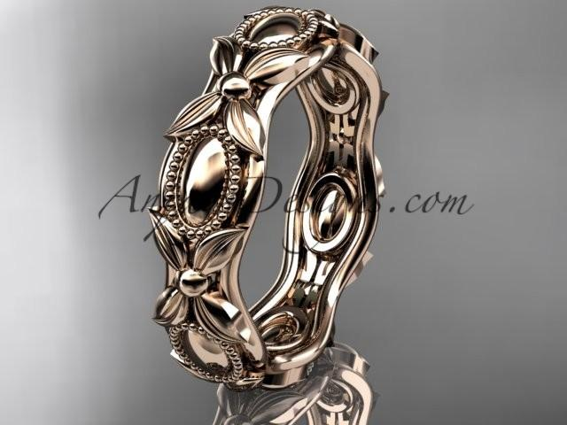 wedding photo - 14kt rose gold leaf and vine wedding band,engagement ring ADLR152G
