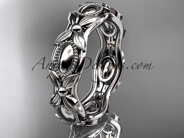 wedding photo - platinum leaf and vine wedding band,engagement ring ADLR152G