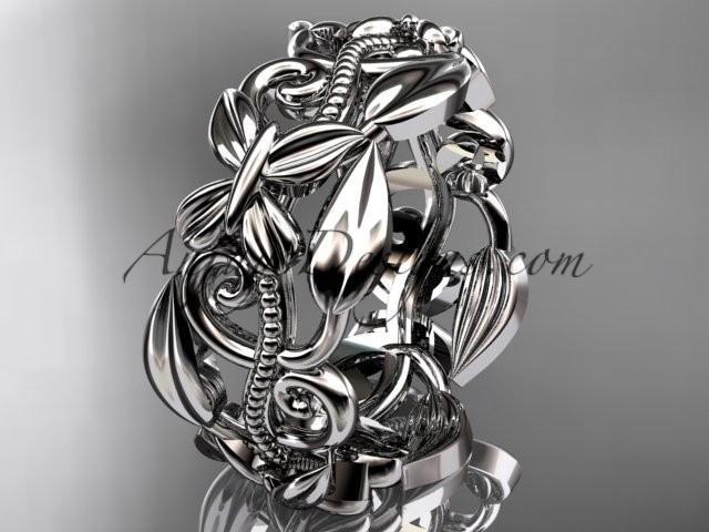 wedding photo - platinum leaf and vine, butterfly wedding ring,wedding band ADLR346G