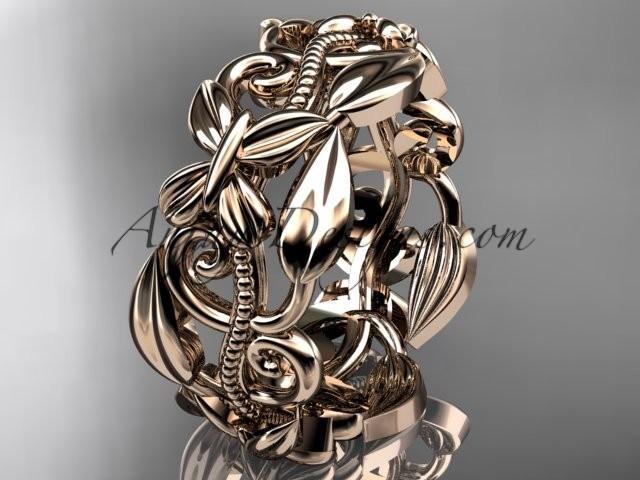 wedding photo - 14kt rose gold leaf and vine, butterfly wedding ring,wedding band ADLR346G