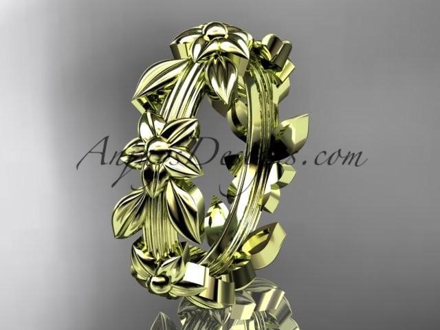 wedding photo - 14kt yellow gold leaf wedding ring,engagement ring, wedding band ADLR316G