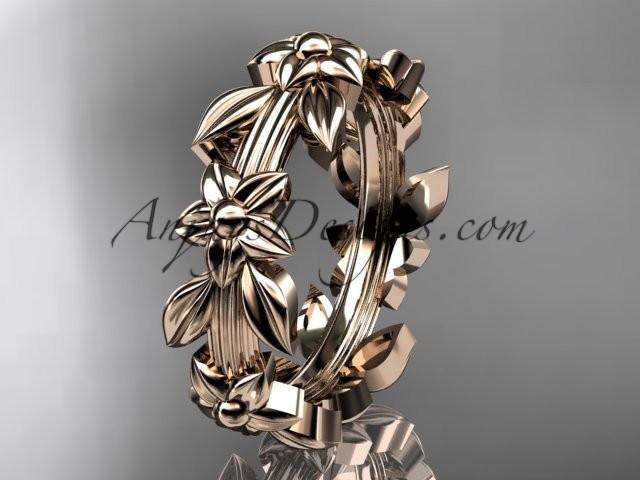 wedding photo - 14kt rose gold leaf wedding ring, engagement ring, wedding band ADLR316G
