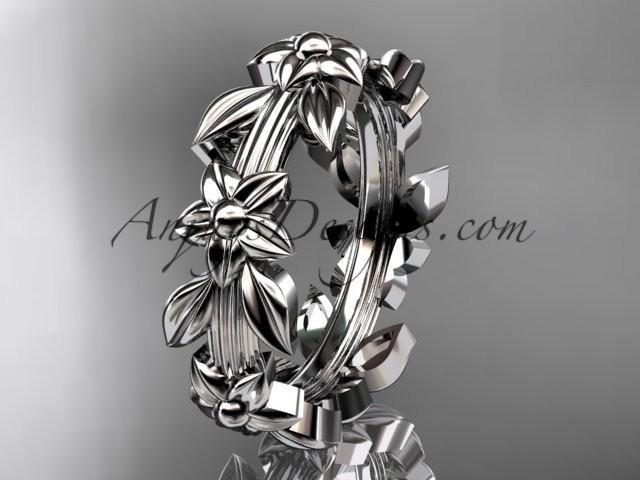 wedding photo - 14kt white gold leaf wedding ring, engagement ring, wedding band ADLR316G
