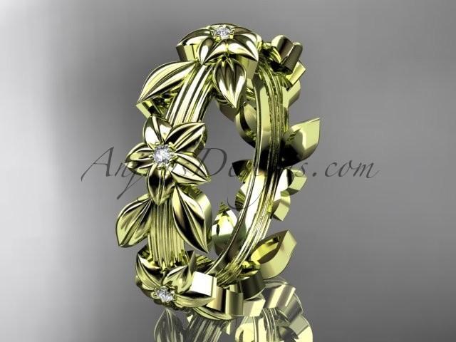 wedding photo - 14kt yellow gold diamond leaf wedding ring,engagement ring, wedding band ADLR316B
