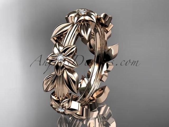 wedding photo - 14kt rose gold diamond leaf wedding ring, engagement ring, wedding band ADLR316B