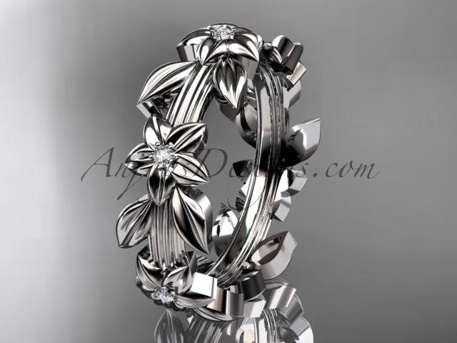wedding photo - 14kt white gold diamond leaf wedding ring, engagement ring, wedding band ADLR316B