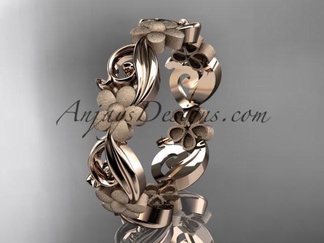 wedding photo - 14kt rose gold flower wedding ring, engagement ring, wedding band ADLR191G