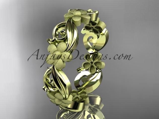 wedding photo - 14kt yellow gold flower wedding ring, engagement ring, wedding band ADLR191G