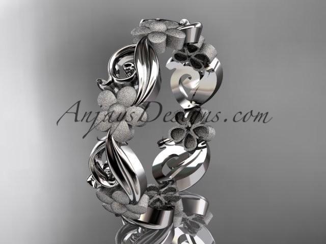 wedding photo - platinum flower wedding ring, engagement ring, wedding band ADLR191G