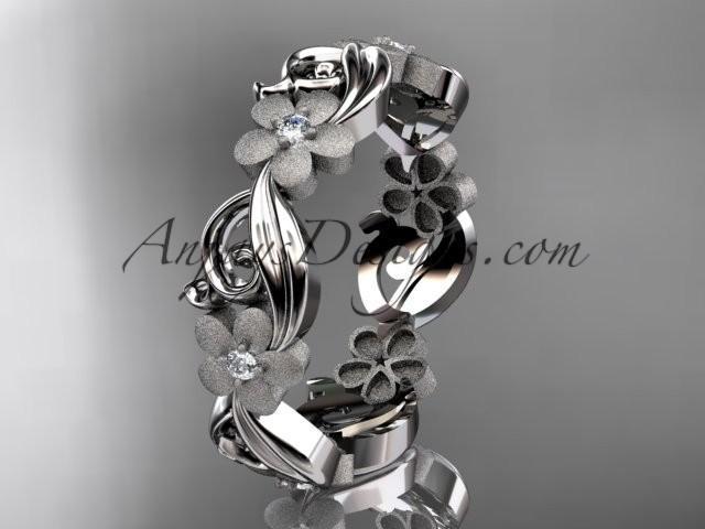wedding photo - platinum diamond flower wedding ring, engagement ring, wedding band ADLR191B