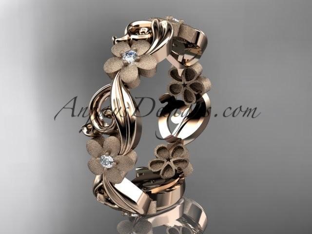 wedding photo - 14kt rose gold diamond flower wedding ring, engagement ring, wedding band ADLR191B