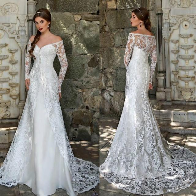 New Arrival 2016 Sheer Satin Wedding Dresses Overskirts Off Shoulder Long Sleeves Full Lace