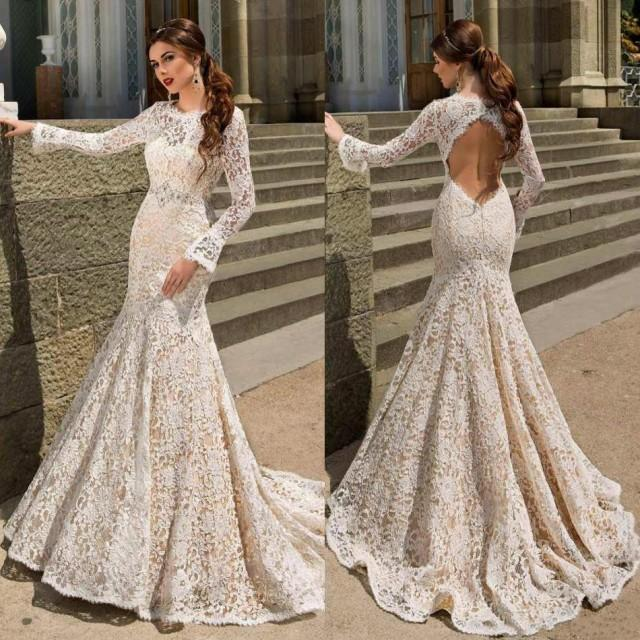 modest mermaid wedding dresses bodice fitted long sleeve