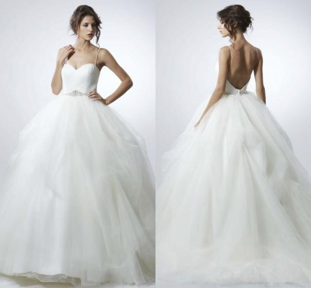 2016 wedding dresses spaghetti straps beads sleeveless a line bridal
