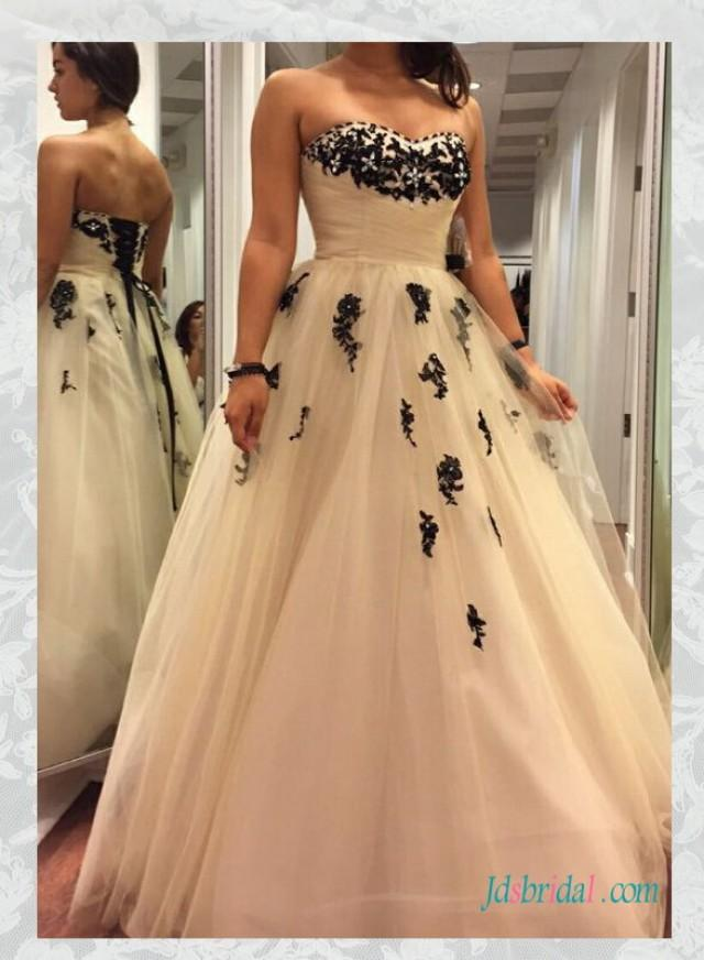 H1592 cheap black and ivory colored tulle wedding dresses for Cheap ivory wedding dresses