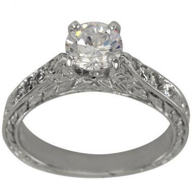 Diamond Engagement Art Deco Ring With 075 Carat In Cathedral Engagement Ring 2522206