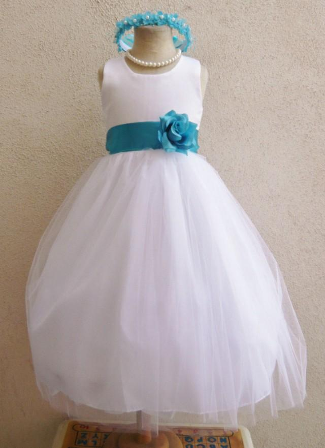Flower girl dresses white with turquoise fd0rbp for White and turquoise wedding dresses