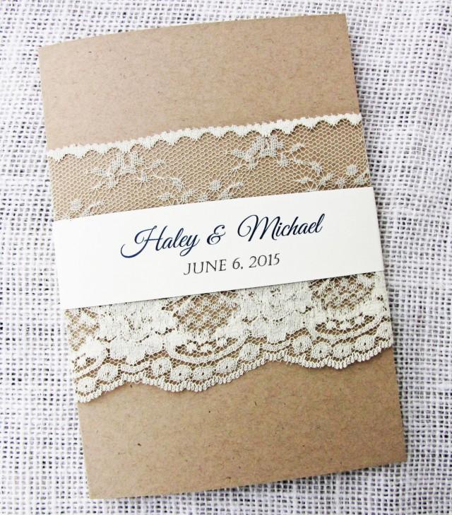 Rustic Wedding Invitation, Lace Wedding Invitation, Rustic Lace ...