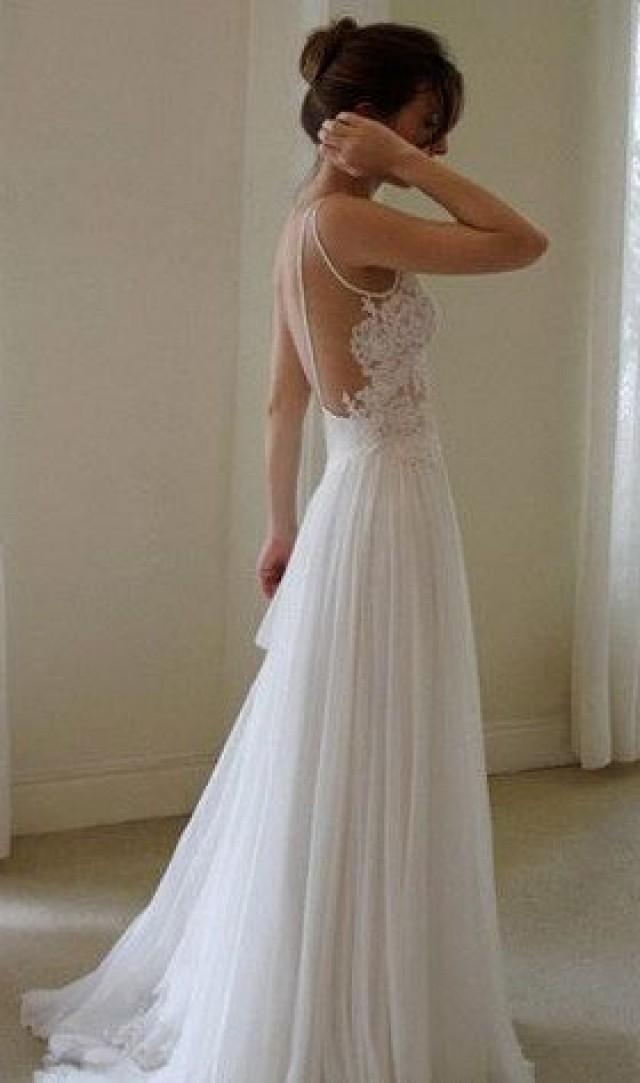 sexy backless white lace long chiffon prom dress beach
