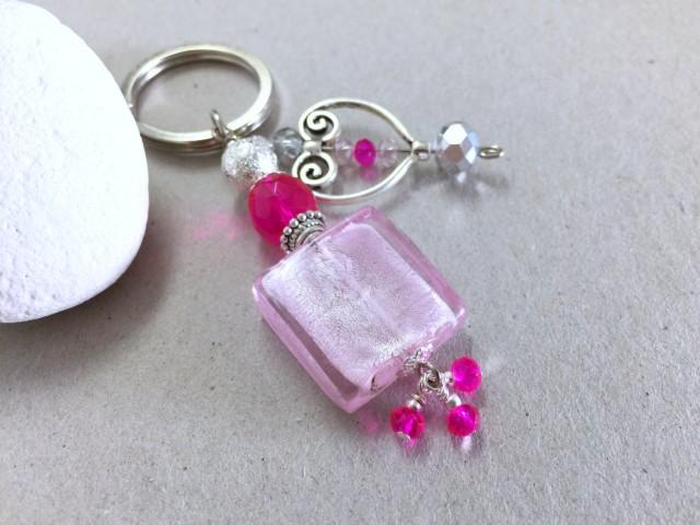 glass and silver heart keychain pink wedding favor baby shower