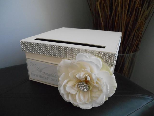 Vintage Glam Wedding Card Box Modern With Ivory Ribbon Ivory Rose – Modern Wedding Card Box