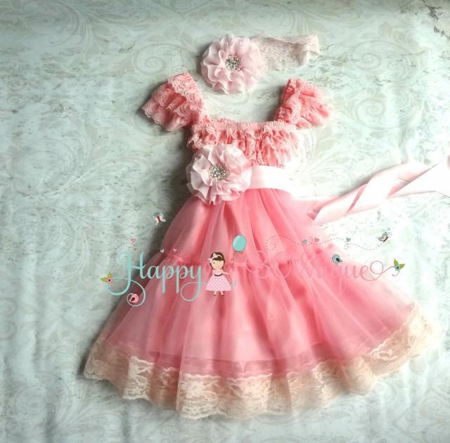 wedding photo - Baby Girls' dress, Bubblegum Pink Chiffon Lace Dress set, baby girls clothing,1st Birthday dress, Flower girls dress, Girls Princess Dress
