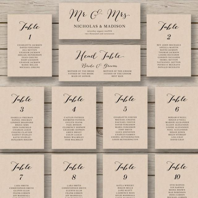 wedding chart seating template