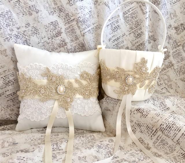 Vintage Flower Girl Basket And Ring Bearer Pillow : Flower girl basket gold and ring