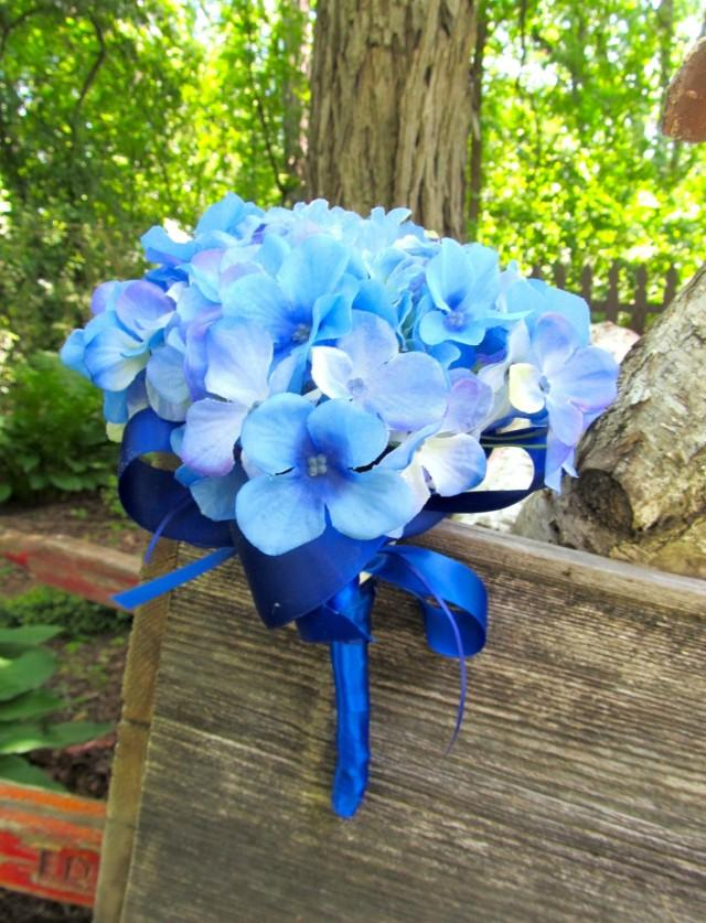 Blue Bridesmaid Bouquet Hydrangea Wedding Bouquet Blue Silk Bridal Flowers Dark Sky Blue