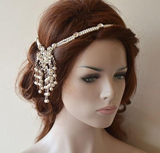 wedding photo - Wedding Head Chain, Pearl Hair Jewelry, Bridal Hair Accessories, Bohemian Wedding Headpiece, Wedding Hair Accessories
