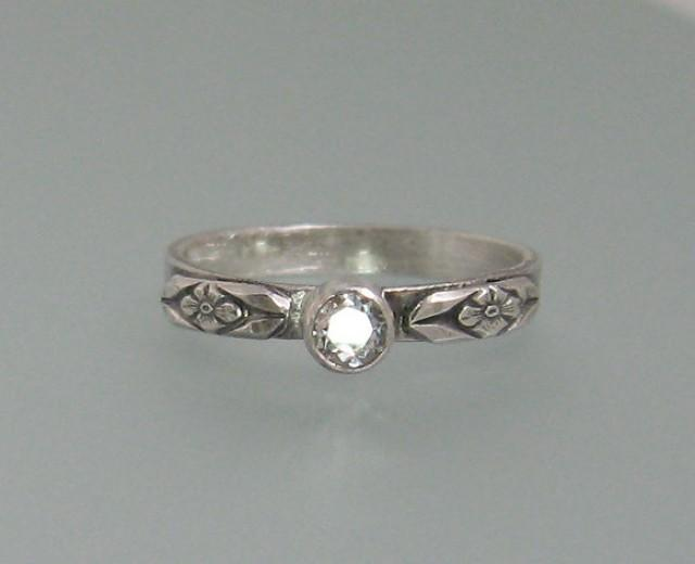 white sapphire engagement ring sterling silver floral