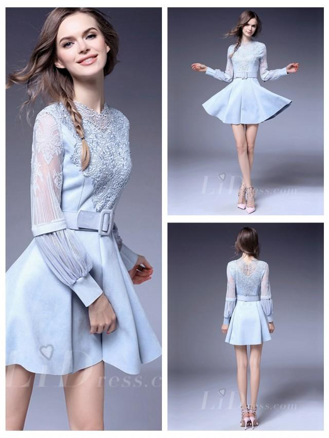 wedding photo - Light Blue Long Sleeves Coctail Dress