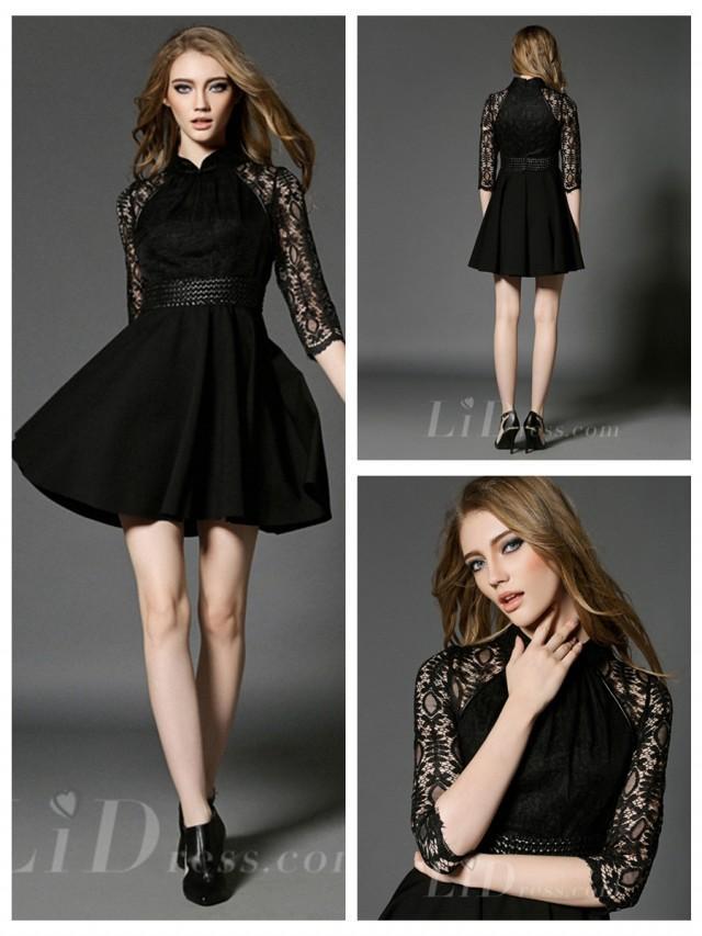 wedding photo - Spring 2016 Half Sleeves Black Short Dress