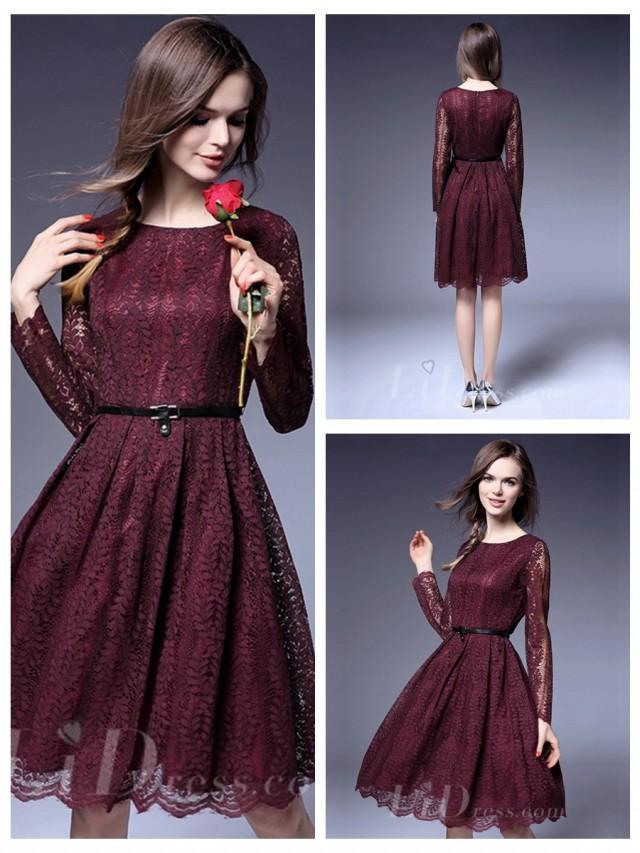 wedding photo - Illusion Long Sleeves Short Lace Dress