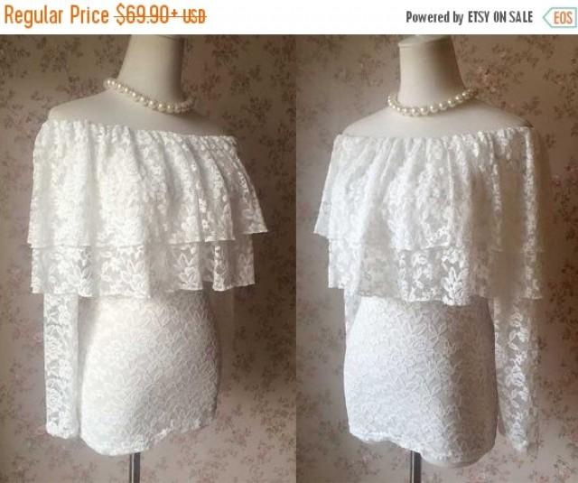 Chic ivory white lace top women lace shirts custom for Long sleeve wedding dress topper