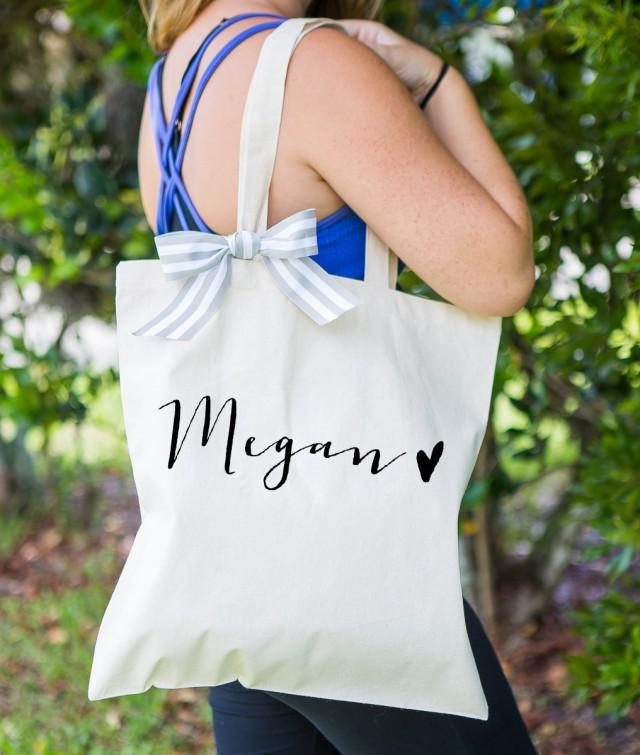 personalized bag gift for bridesmaids tote bags canvas w striped ribbon gift for wedding bridal. Black Bedroom Furniture Sets. Home Design Ideas