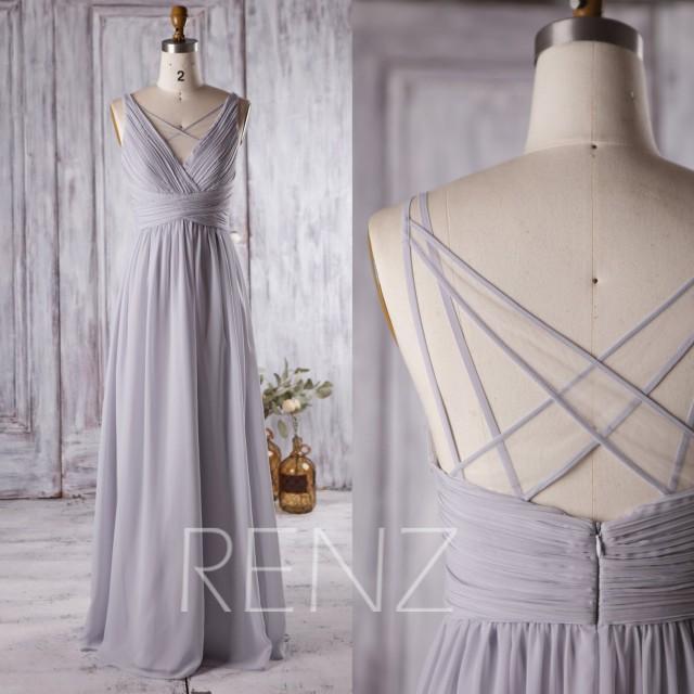 Light Gray Bridesmaid Dresses: 2016 Light Grey Bridesmaid Dress Long, V Neck Wedding